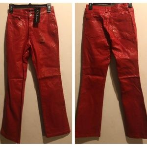 Lip Stick Red Faux Snake Skin Pants Junior Size